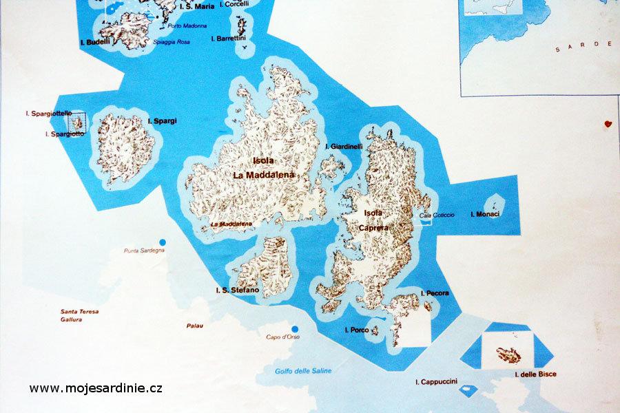 Mapka souostroví La Maddalena